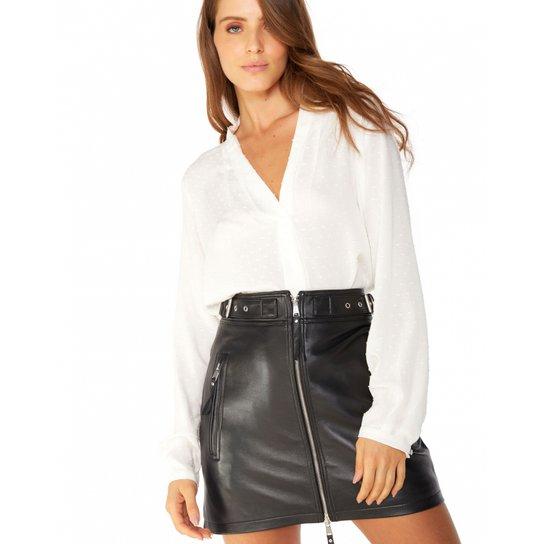 bfb9cd3a0d Camisa Amaro Crepe Com Prega Feminina - Branco
