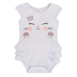 8ce682401d5d Body Bebê Manga Curta Gatinha Meia de Leite Feminino