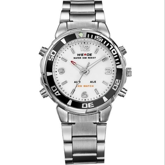 4391d4fe99c Relógio Weide Anadigi WH-843 - Branco - Compre Agora