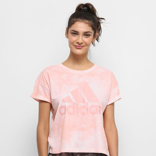Camiseta Adidas Essentials Allover Print Croped Feminina - Rosa+Branco d696ca2c497c1