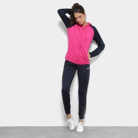 3683baf7669 Agasalho Adidas Detalhe Logo WTS Lin Hood Feminino - Marinho e Pink ...