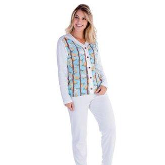aeb0d72ab Pijama Victory Feminino Inverno Longo Aberto