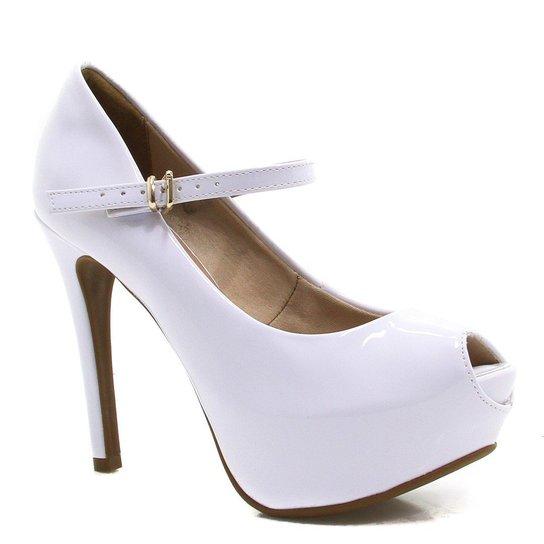 9a320ec50 Sapato Bebecê Noivas Peep Toe Verniz - Branco   Zattini