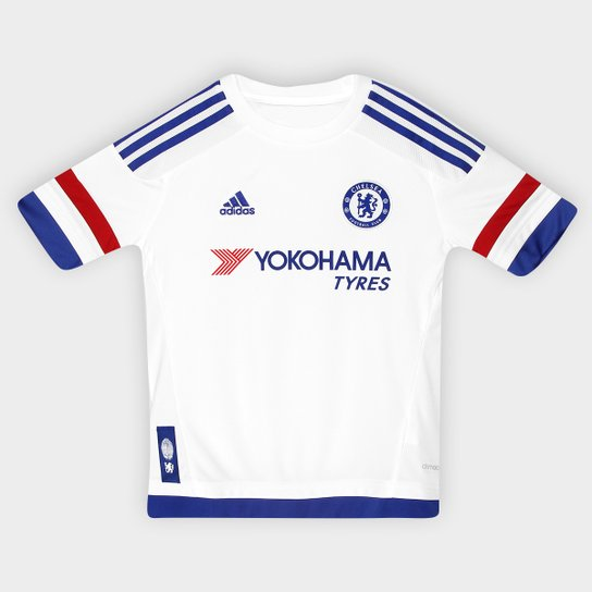 08a693c6129 Camisa Chelsea Infantil Away 15 16 s nº Torcedor Adidas - Branco+Azul