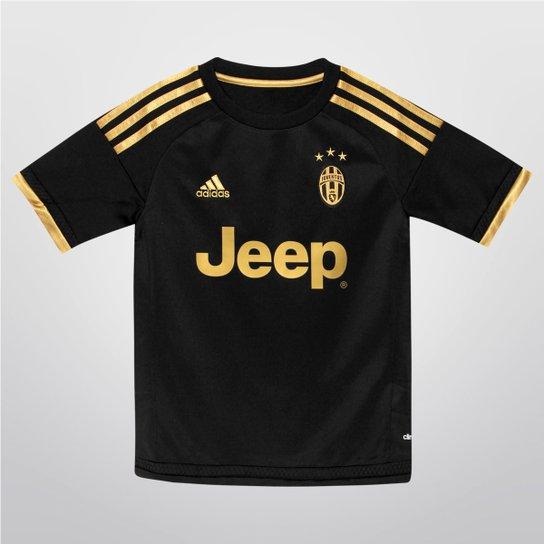 9a9a670fd8 Camisa Adidas Juventus Third 15/16 s/nº Infantil - Preto+Dourado