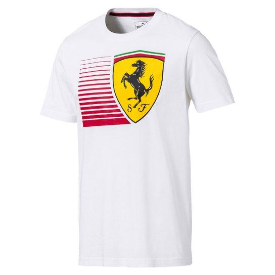5436f7e121 Camiseta Puma Scuderia Ferrari Big Shield Tee Masculina - Branco ...