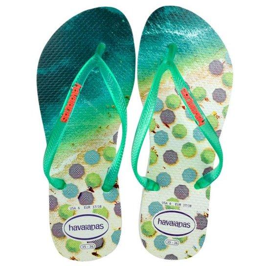 5993caa48ab10 Chinelo Havaianas Slim Paisage Feminino - Branco e Verde - Compre ...