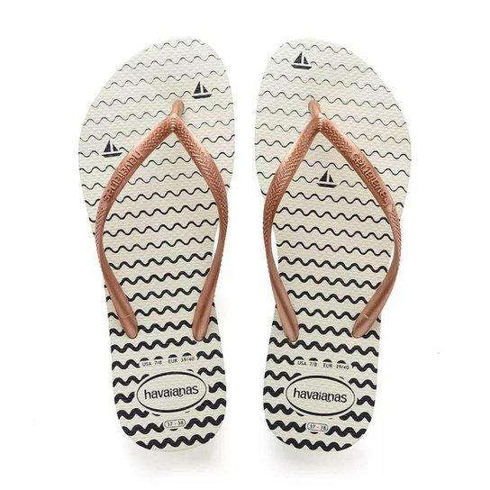 035226068 Chinelo Havaianas Slim Oceano Feminino - Branco - Compre Agora