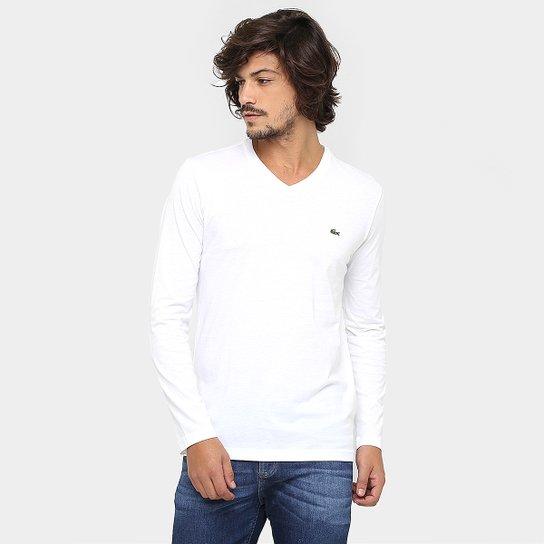 b8fb629b8a Camiseta Lacoste Regular Fit Básica Gola V Manga Longa - Branco ...