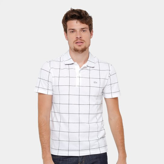 Camisa Polo Lacoste Piquet Xadrez Regular Fit Masculina - Branco. Loading. 140797a791
