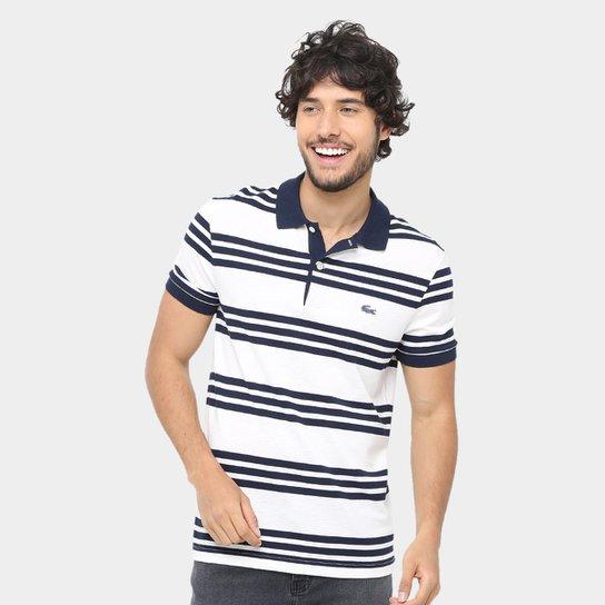 544cc84936a33 Camisa Polo Lacoste Piquet Caviar Regular Fit Listrada Masculina - Branco