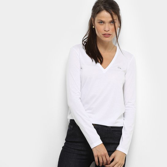 ae13c696498fa Camiseta Lacoste Manga Longa Decote V Feminina - Compre Agora