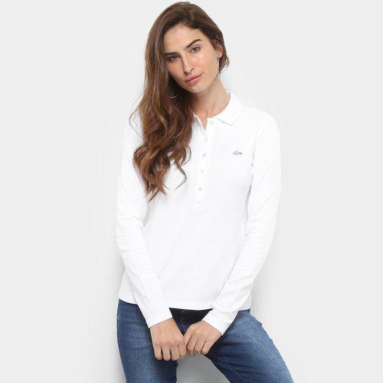 359f9a312bb7f Camisa Polo Lacoste Manga Longa Botões Feminina - Compre Agora   Zattini
