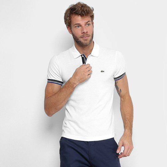 Camisa Polo Lacoste Piquet Slim Fit Frisos Manga Masculina - Branco ... 00d10c96b5