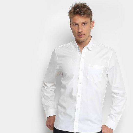 f8a65ac1b3 Camisa Social Lacoste Manga Longa Masculina - Branco - Compre Agora ...