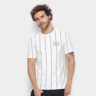 470d76000b6 Camiseta Lacoste Detalhe Listras Masculina