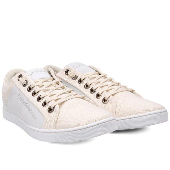 7f630f768e3c1 Sapatênis Calvin Klein Basic Masculino - Branco e Areia - Compre ...