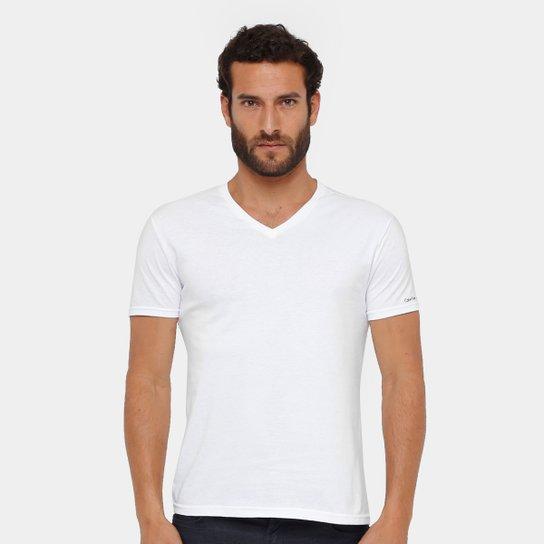 8b32b1eedf Camiseta Calvin Klein Gola V Cavada Masculina - Branco
