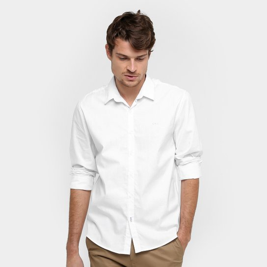 88920d4230 Camisa Social Calvin Klein Slim Fit Manga Longa Masculina - Branco
