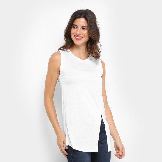 Regata Calvin Klein Alongada Com Bordado Feminina - Branco - Compre ... ed33ab3fb5e