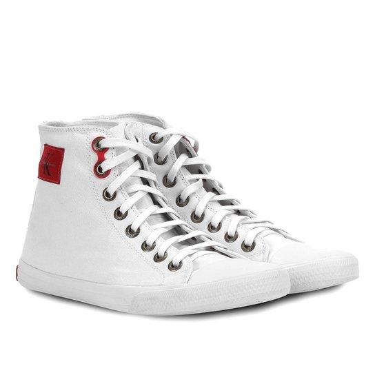 eca6c7519644d Sapatênis Calvin Klein Cano Alto Lona Masculino - Branco - Compre ...