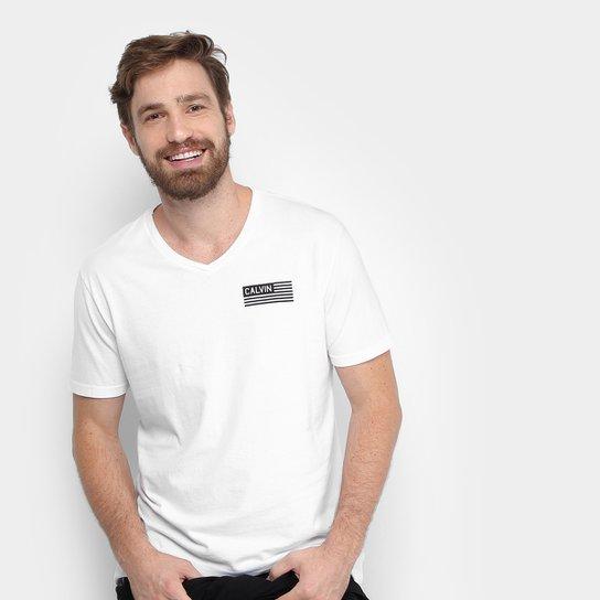 Camiseta Calvin Klein Gola V Logo Bandeira Masculina - Compre Agora ... addf3ceddc