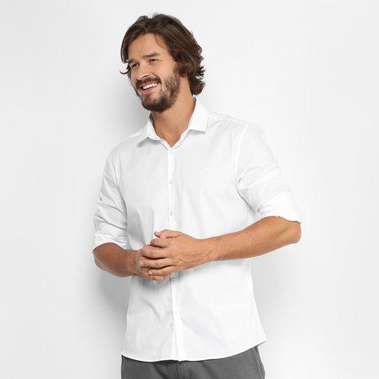 0c81e5dc528489 Camisa Calvin Klein Slim Fit Lisa Stretch Masculina - Branco | Zattini