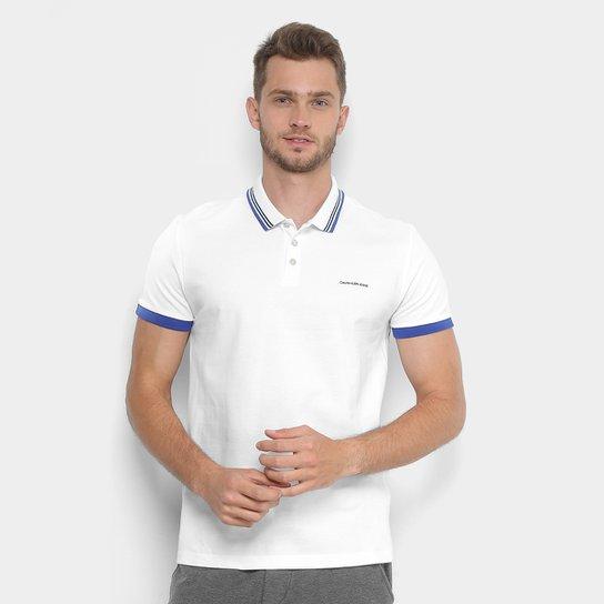 e39b320e3a Camisa Polo Calvin Klein Punho Bicolor Gola Listras Masculina - Branco