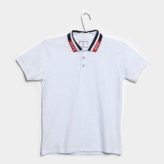 3f7e77ae6ed77 Camisa Polo Infantil Calvin Klein Gola CK Jeans Masculina