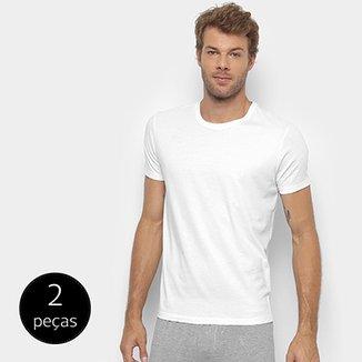 bd31c54422c95 Kit Camiseta Calvin Klein Básica Masculina 2 Peças - Branco - Compre Agora