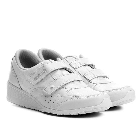 dcdadd20f3 Tênis Couro Kolosh Anabela Velcros Feminino - Branco - Compre Agora ...