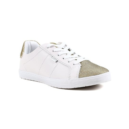 764f4e16a7 Tênis Casual Feminino Kolosh Dourado branco - Branco