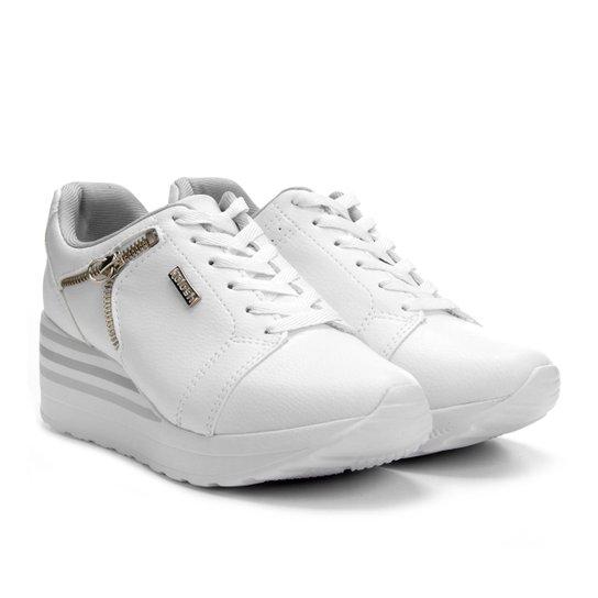 11156dbe469 Tênis Kolosh Sneaker Anabela Zíper Lateral Feminina - Branco ...