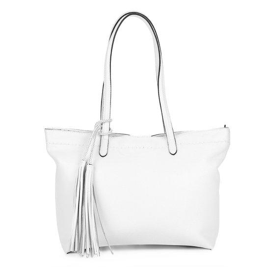 7e925871f Bolsa Couro Luz Da Lua Shopper Cordão Barbicacho Feminina - Branco ...