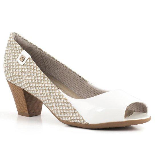 52bcb393a0 Sapato Peep Toe Piccadilly 714080 - Branco