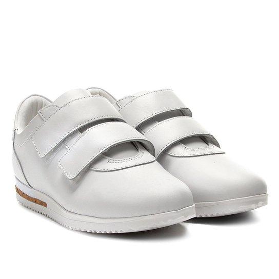 f679f61d929 Tênis Couro Usaflex Jogging Velcro Feminino - Branco - Compre Agora ...