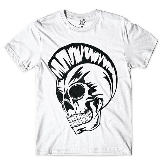 Camiseta Long Beach Caveira Punk Basica Masculina - Branco - Compre ... 58dc90f8e18