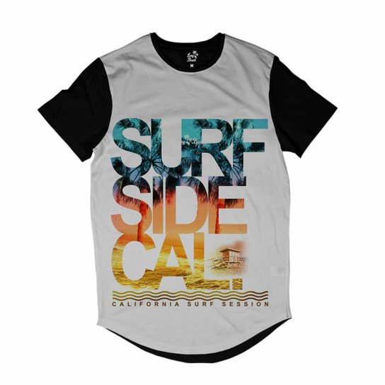 Camiseta Longline Long Beach Sessão de Surf Sublimada Masculina - Branco d772ed5766c
