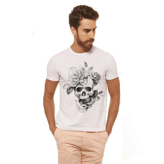Camiseta Joss Estampada - Caveira Flor - Masculina - Branco - Compre ... e212cdfcc89
