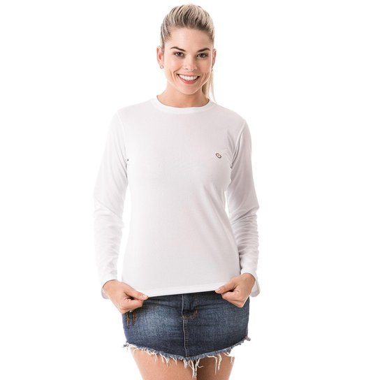 f1f17f793f Camiseta com Proteção Solar Manga Longa Extreme UV Dry - Branco ...