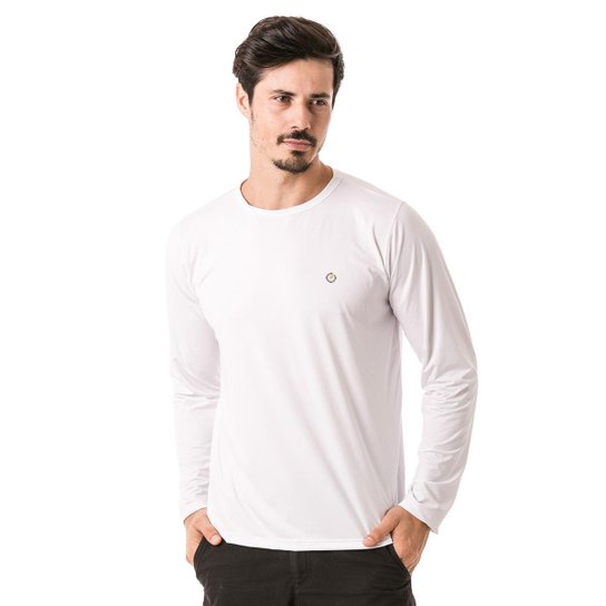 3a7d679978 Camiseta Térmica para Frio Manga Longa com Proteção Solar Extreme UV -  Branco