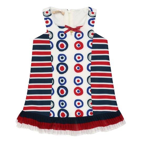 Vestido Infantil Neoprene Listrado e Bolas - Branco - Compre Agora ... 420c63e125