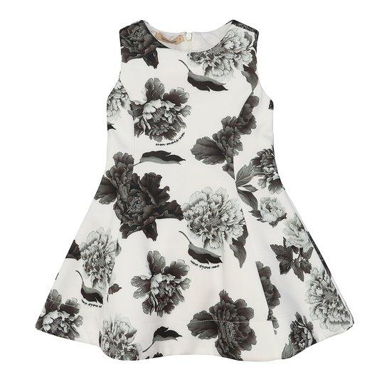 057447854 Vestido Infantil Neoprene Estampa Flores - Branco   Zattini