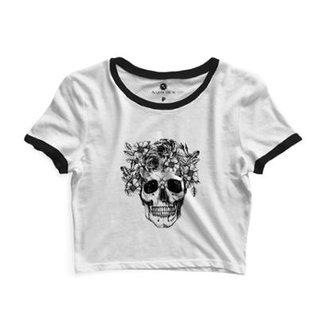 acc2ce0571287 Cropped Com Viés Morena Deluxe Skull Roses Feminino