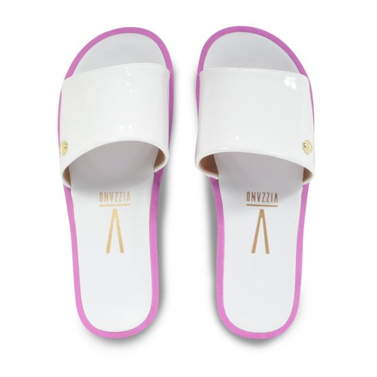 a71096b86e551 Chinelo Vizzano Slide Liso Verniz Feminino - Branco - Compre Agora ...