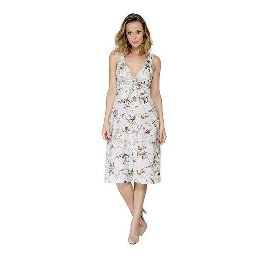 Vestido Midi Estampa Floral Colcci - Branco e Verde - Compre Agora ... f33565fdb29