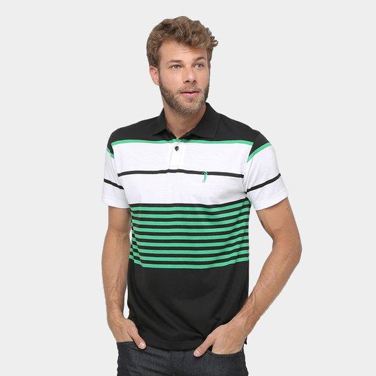 Camisa Polo Aleatory Malha Fio Tinto Listras Masculina - Branco+Verde adc6b32f2fd7f