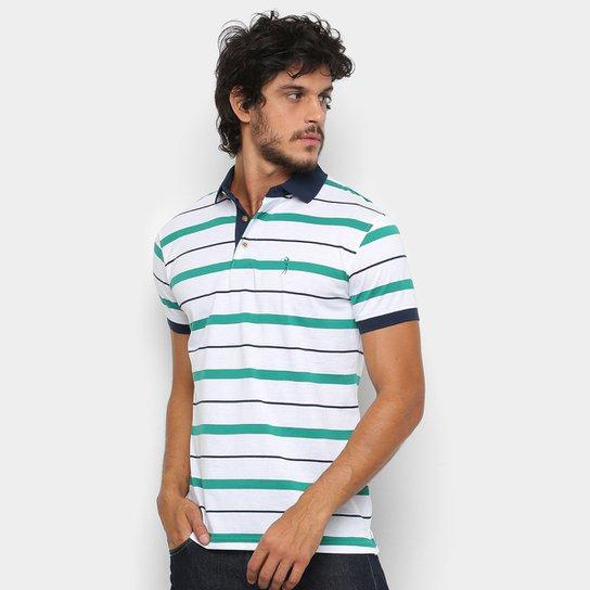 53482549c74a5 Camisa Polo Aleatory Fio Estampa Listrada Masculina - Branco e Verde ...
