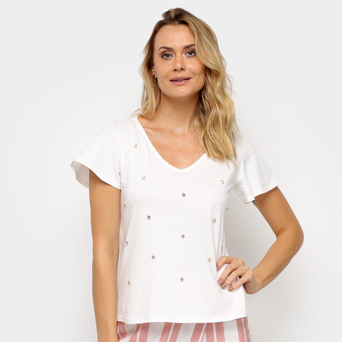 Blusa Malwee Ampla Apliques Feminina