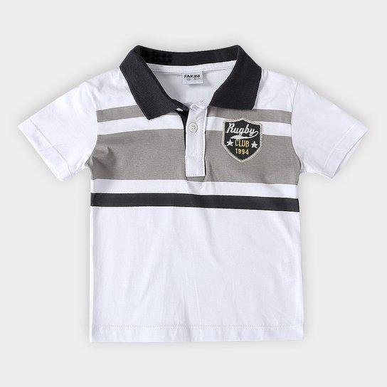 9e8eb774d9 Camisa Polo Infantil Fakini Kids Logo Bordado Masculino - Branco ...
